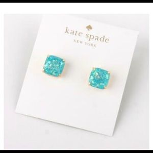 Kate spade sparkly blue teal stud earrings